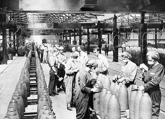 Mujeres trabajando durante la primera Guerra Mundial